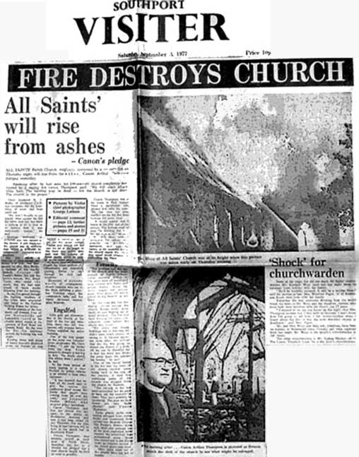 All Saints Parish Church Southport 1977 Fire