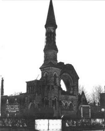 Remains of the All Saints Parish Church Southport building after the 1977 fire